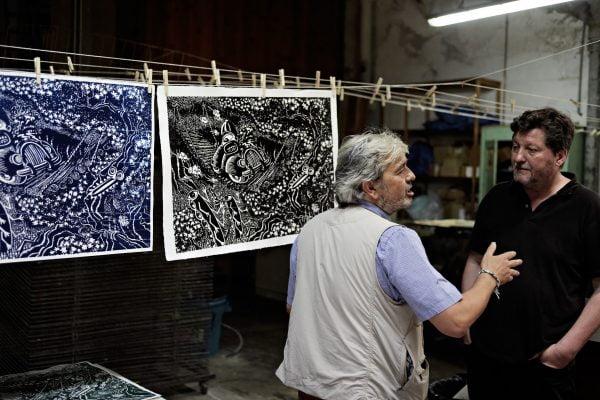 Hervé Di Rosa dans l'atelier